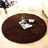 moonrug Super Soft Nursery Rug Anti-Skid Fluffy Round Children Area Rug for Bedroom Kids Room Woman Yoga Mat, 4 Feet, Coffee