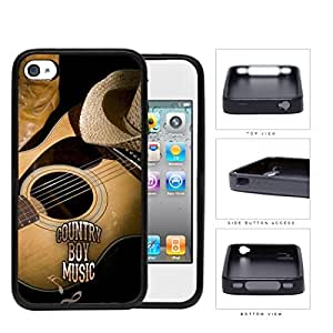 Country Boy Music with Acoustic Guitar and Cowboy Boots and Hat iPhone 4 4s Rubber Silicone TPU Cell Phone Case