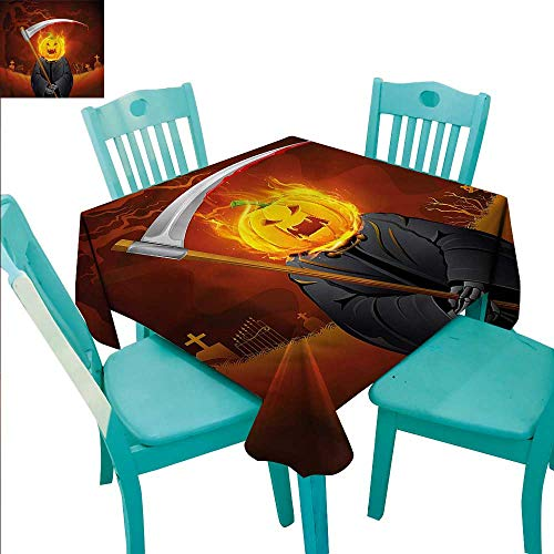 (Hotel Quality Tablecloth Halloween Great for Banquet Classic Candy buffets Grim Reaper Head Spooky)