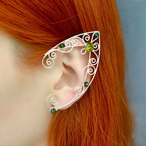 Popular Cosplay Earrings Victorian Earrings Art Deco Olive and Emerald Ear Cuffs filigree, Gift Ideas, Birthday Presents, Handmade Gifts -