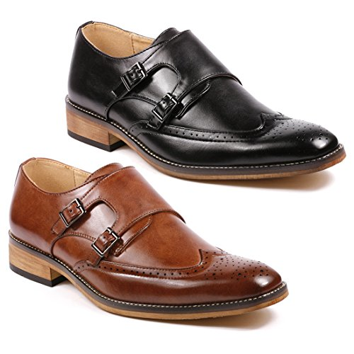 Metrocharm MC104 Mens Double Monk Strap Wing Tip Perforated Slip On Loafers Dress Shoes