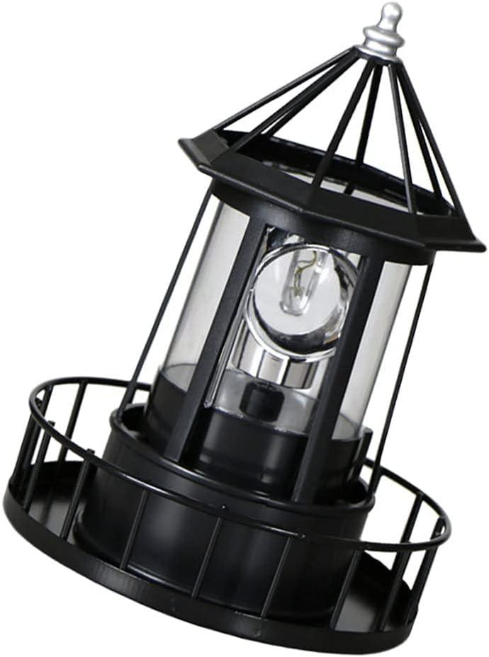Happyyami Lighthouse Lamp Outdoor Landscape Lamp Revolving Garden Light LED Revolving Lamp Decorative LED Solar Lamp Lighthouse Garden Decor
