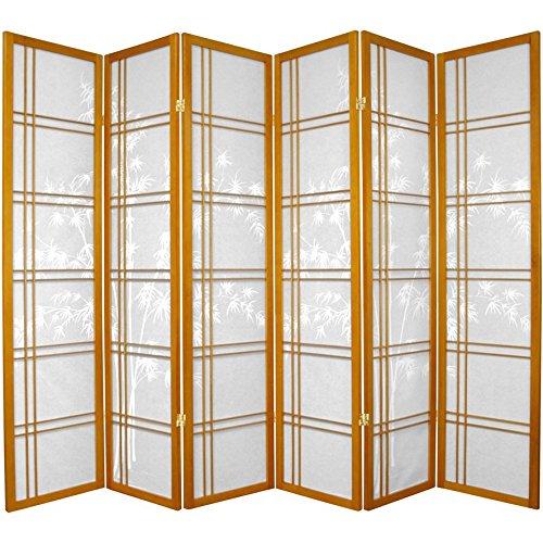 Oriental Möbel druckknopfstiel Bambus Baum Design Doppeltes Kreuz Japanische Shoji Screen Raumteiler, 6Panel Honig