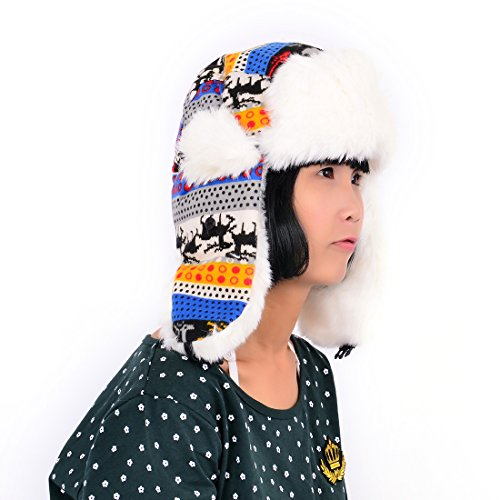 Huan Xun Child Exclusive Thick Soft Wool Trapper Aviator Hat 3 Tone