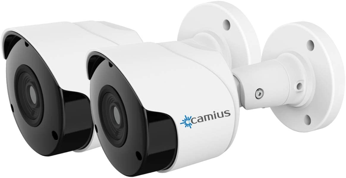2 Pack Camius 5MP PoE Outdoor IP Security Camera with Built-in Microphone, Night Vision, for Homes and Commercial Video Surveillance - BOLTX5PA
