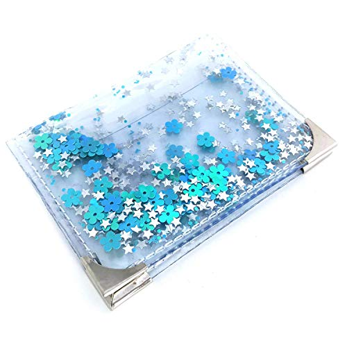 6b6d01c34d3 Amazon.com: Mermaid Style Turquoise Glitter Clear Credit Card Holder,  Designer Small Sparkly Women's Slim Card Protector Wallet, Xmas Gift:  Handmade