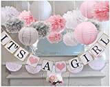 baby girl baby shower decorations, It is a Girl Banners and Paper Lantern Paper Flower Pom Poms (Pink White Grey)