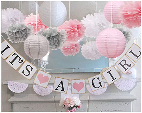 luckylibra Baby Girl Baby Shower Decorations, It is a Girl Banners and Paper Lantern Paper Flower Pom Poms (Pink White Grey) for $<!--$17.98-->
