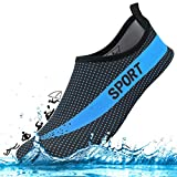DCZTELG Outdoor Summer Water Shoes For Men Women Couple 350 v2 Stretchy Durable Sole Barefoot Quick-Dry Beach Yoga Aqua Socks For Pool (4-Blue/Black, XXL(W13-14/M:10.5-11.5))