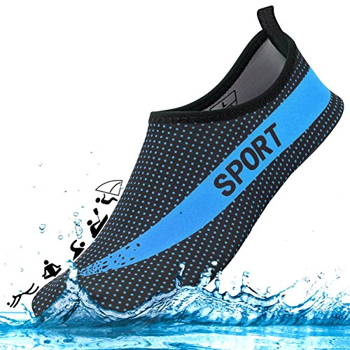 DCZTELG Outdoor Summer Water Shoes for Men Women Couple 350 v2 Stretchy Durable Sole Barefoot Quick-Dry Beach Yoga Aqua Socks for Pool (4-Blue/Black, M(W7.5-8.5/M:6.5-7.5)) by DCZTELG (Image #2)