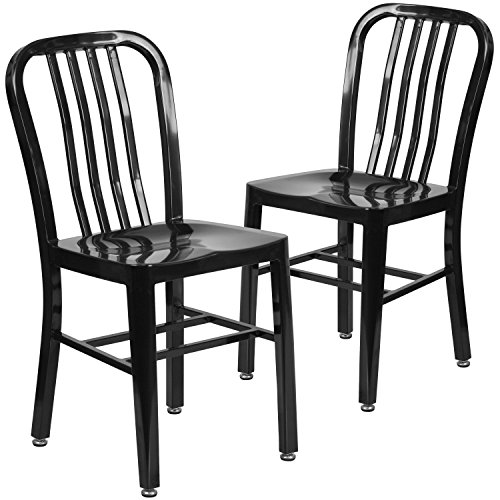 Flash Furniture 2 Pk. Black Metal Indoor-Outdoor Chair