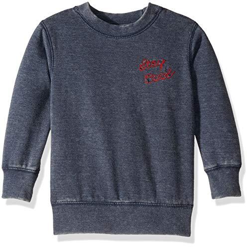 Lucky Brand Toddler Boys' Long Sleeve Crewneck Sweatshirt, Denim Blue 3T