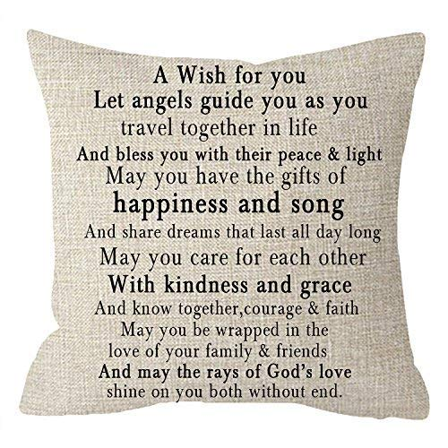Nice Gift to Sister Friends Family Greatest Blessing Quotes A Wish for You Body Lumbar Beige Cotton Linen Throw Pillow Case Cushion Cover Sofa Decorative Square 18 Inches Beige