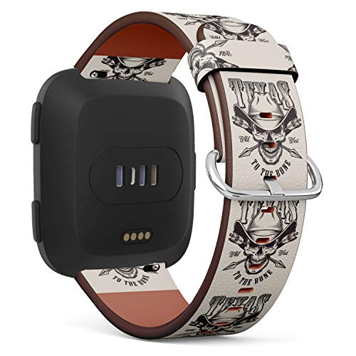 Replacement Leather Strap Printing Wristbands Compatible with Fitbit Versa - Monochrome Vintage Emblems with Fitbit Texas Cowboy Skull