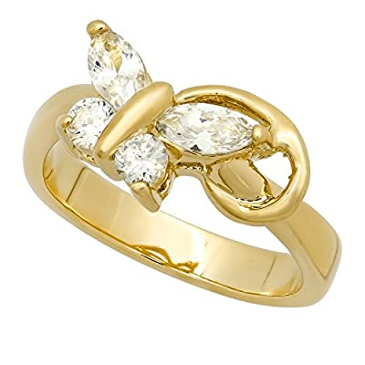 Top The Bling Factory Gold Plated Butterfly w/Clear Marquise & Round CZ Wings Ring + Microfiber Jewelry Polishing Cloth free shipping