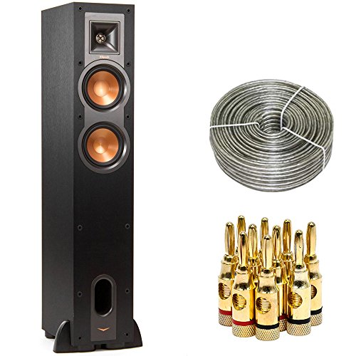 Klipsch R-24F Dual 4.5-inch Floorstanding Speaker (1060674) with 100 ft Heavy Duty Speaker Wire & Brass Speaker Banana Plugs, 5-Pair, Open Screw Type