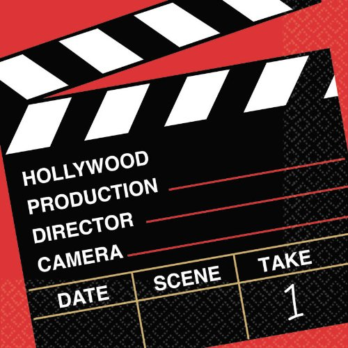 Amscan Movie Night Hollywood Party Director's Cut Clapper Luncheon Napkins (36 Piece), Multi Color, 6.6 x 6.6