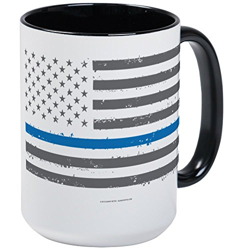 CafePress - Law Enforcement Blue Line Flag Mugs - Coffee Mug, Large 15 oz. White Coffee Cup (Mugs Enforcement Law)