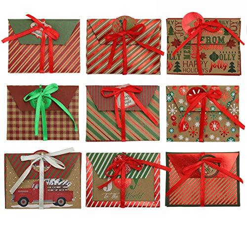 Iconikal Christmas Holiday Foil Embossed Kraft Gift Card Holder Boxes, Set of 9