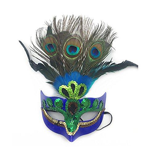 frawirshau Womens Peacock Feather Mask Halloween Costume