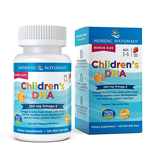 Nordic Naturals Childrens DHA Strawberry - Childrens Fish Oil Supplement for Healthy Cognitive Development and Immune Function*, Bonus Count 120 Soft Gels