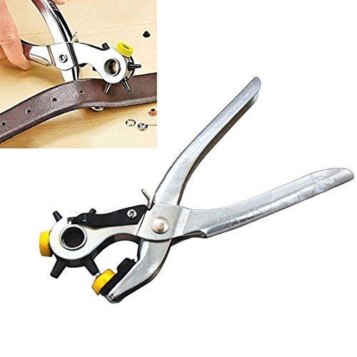 Herramienta Alicates Perforadora Giratoria Agujereador con 5 Tama/ños de Agujeros para Cintur/ón Cuero Papel y Manualidades de Costura