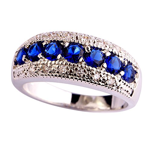 Psiroy 925 Sterling Silver Created Blue Sapphire Filled Half Eternity Band Ring Size 7