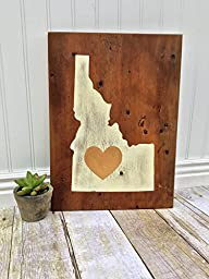 Idaho Love Gold Heart- Rustic Home Décor - Reclaimed Wood Country Sign
