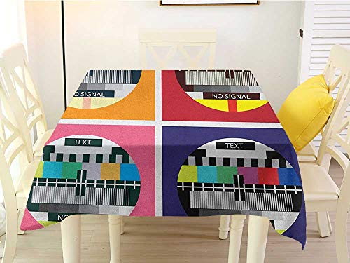 L'sWOW 100% Polyester Washable Tablecloth for Square tablecloths Modern Television Radio Channel Signal Digital Sign in Four Collage Artwork Image Print Multicolor Square 70 x 70 Inch]()