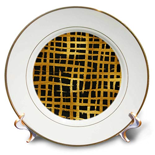 3dRose Anne Marie Baugh - Patterns - Modern Black and Image of Gold Cross Hatch Image of Brush Strokes - 8 inch Porcelain Plate (cp_308790_1)