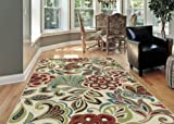 Tropical Area Rugs Universal Rugs Transitional Floral 5 ft. 3 in. x 7 ft. 3 in. Area Rug , Ivory