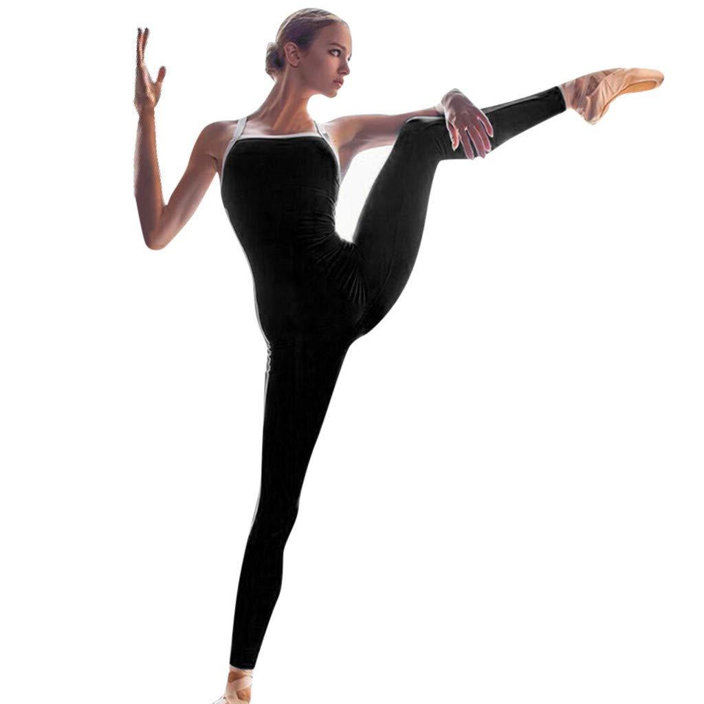 Alalaso Women's Summer Yoga Back Cutout Cross Sports Set Siamese Trousers Yoga Pants Black