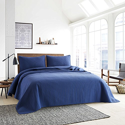 Style Homes 3-Piece Luxury Quilt Set with Sham(s), Ultra Soft Microfiber Bedspread and Coverlet with Half inch Channel Stitch Design, Oversized, King, Blue Indigo by Style Homes (Image #1)