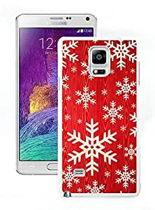 Personalization Red Background With Snowflakes White Samsung Galaxy Note 4 Case 1
