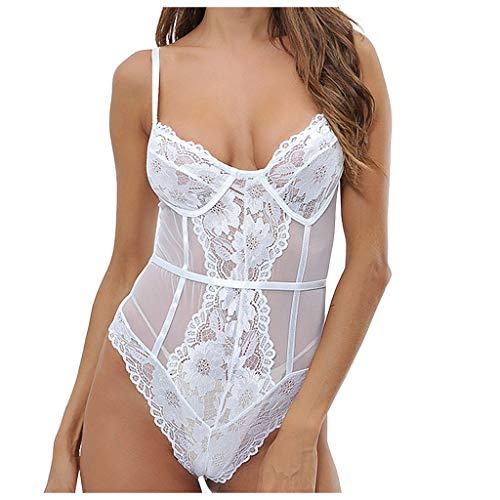 ABCOnline Women Sexy Lace Bodysuit Lingerie One Piece Sheer Bodysuit Thong Clubwear White