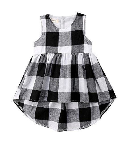 Calsunbaby Toddler Baby Girl Irregular Black and White Plaid Checked Sleeveless Dresses Sundress (Black, 3-4 Years) Checked Baby Dress