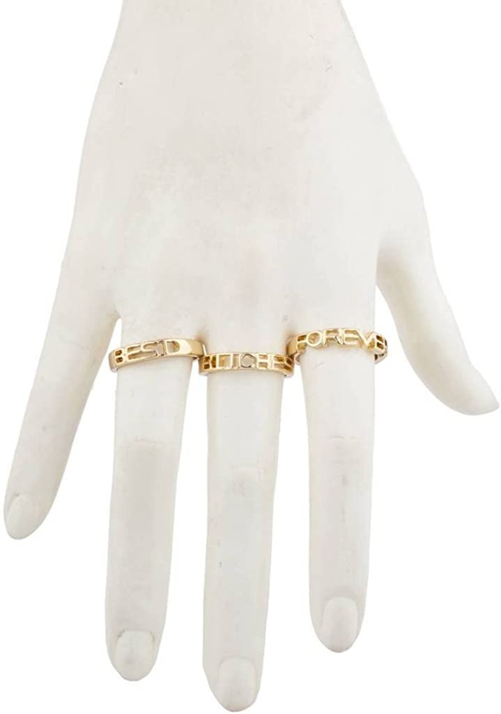 Lux Accessories Silver Tone Best Bitches Forever BFF Best Friends Ring Set 3pc