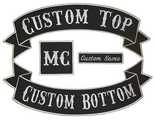 Custom Embroiderd Full Vest Biker 4pc Patch Set - 13