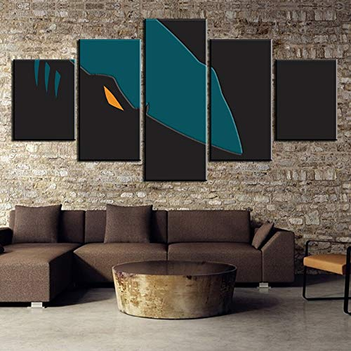 Wall Decor Ice Hockey 5 Piece Hd Print Large San Jose Ice Hockey Sport Shark Logo Painting Canvas Wall Art Picture Home Decoration Living Room Canvas Painting