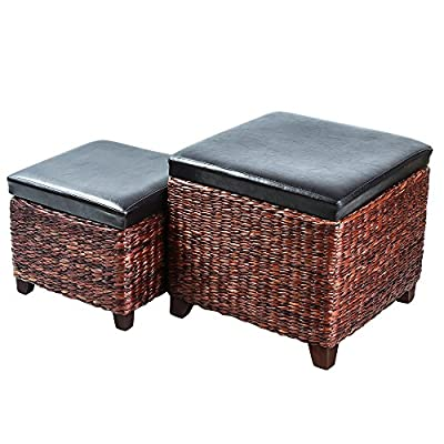 Eshow Ottoman Cube Shaped Storage Ottomans, Hassocks and Ottomans as Footrest Stool, Ottoman Bench Set with Lift Top and Wood Legs for Bedroom and Living Room Storage, 2-Piece