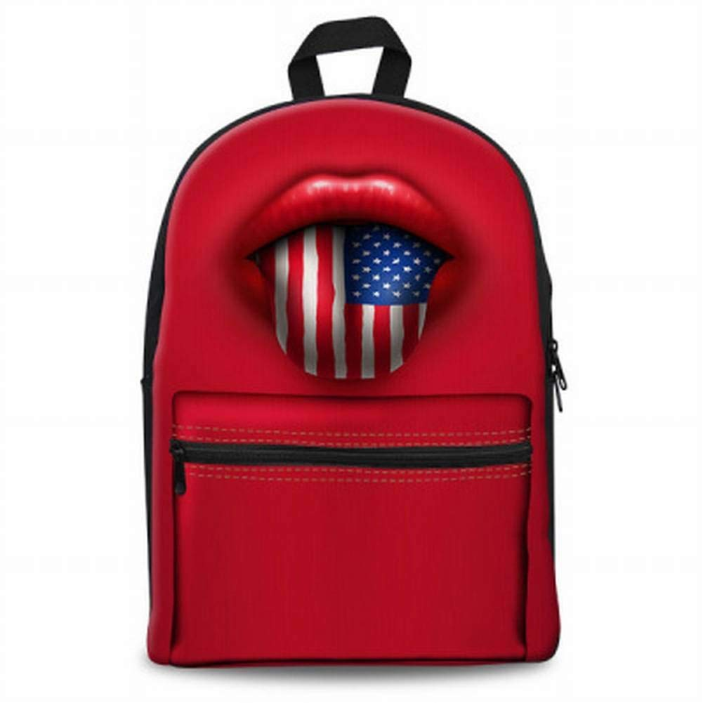 CACTUS Creative Fashion Fashion Multi-Function Bag Red Lips Flag Series Teen Student Backpack Yellow