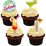 Cocktail Selection Edible Cupcake Toppers - Stand-up Wafer Cake Decorations by Made4You