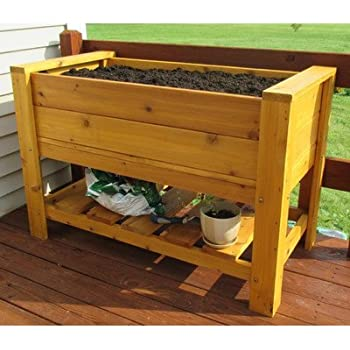 this item infinite cedar elevated planter box with shelf