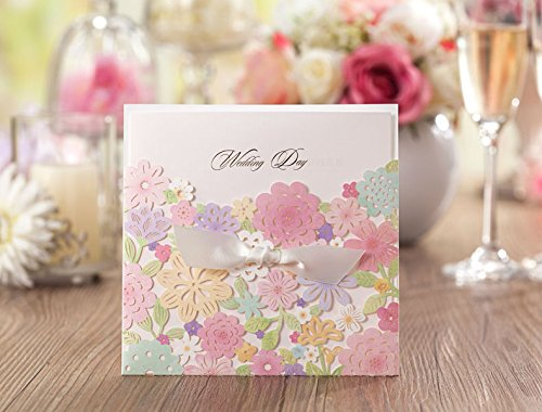 Wishmade Wedding Invitations Cards, Pink, 100 Pieces, CW5031, Customized Printing