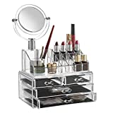 Large Bathroom Mirror Ideas Saganizer Clear acrylic Jewelry organizer and makeup organizer WITH MIRROR cosmetic organizer and Large 3 Drawer Jewelry Chest or makeup storage ideas Case Lipstick Liner Brush Holder make up boxes