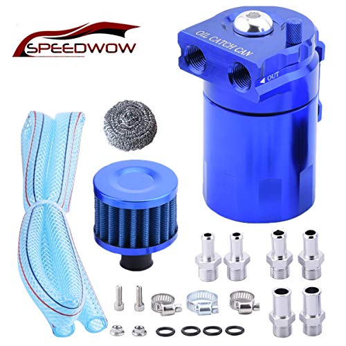 SPEEDWOW Oil Catch Can Air Breather Tank Filter Baffled Universal Blue (Catch Can Filter)