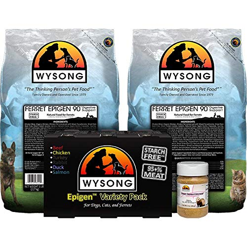 Wysong Ferret Bundle (Two-5 lb. Bags of Ferret Epigen 90 Digestive Support, one-Epigen Variety Pack (six-12.9 cans), one-3 oz. Ferret Omega-3 Spectrum) by Wysong