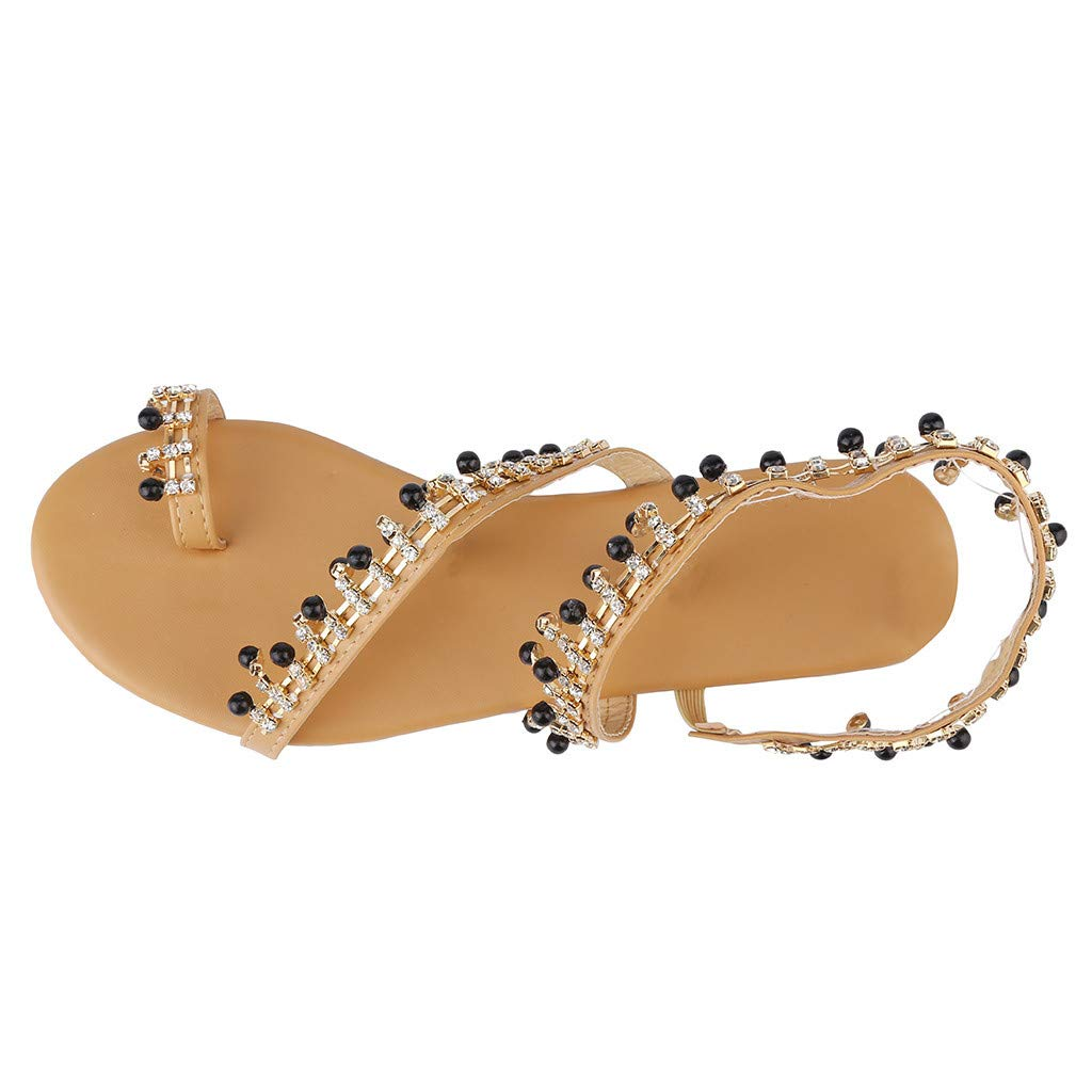 ✔ Hypothesis_X ☎ Womens Thong Flat Sandals Beach Rhinestone Shiny Beads Rhinestone for Summer Sandals Black by ✔ Hypothesis_X ☎ Shoes (Image #7)