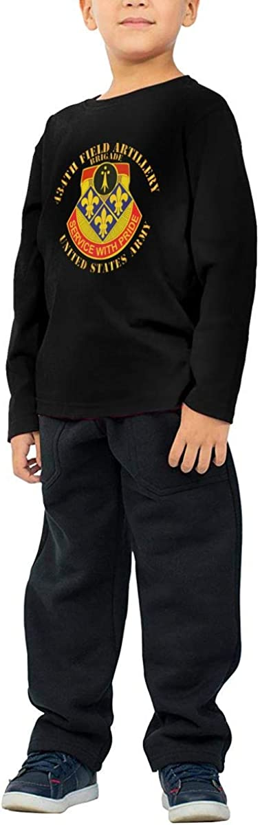434th Field Artillery Brigade W DUI Us Army Childrens Long Sleeve T-Shirt Boys Cotton Tee Tops