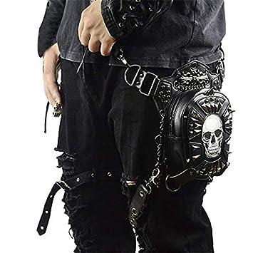 Bolso de Hombro de Cuero Steampunk, Cuero de PU Bandolera Paquetes De Cintura Pierna Bolsas táctico Pierna Banana Macutos de Senderismo Negro Waist Leg Bag FELCIA